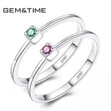 Mücevher ve zaman gerçek 925 ayar gümüş yüzük yeşil kırmızı Topaz yüzükler kadınlar için taş nişan yüzükler gümüş 925 takı anillos Mujer