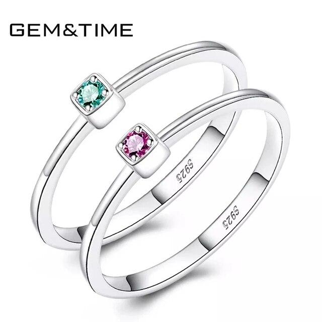 อัญมณี & Real 925 เงินสเตอร์ลิงแหวน Gree สีแดง Topaz แหวนพลอยหมั้นแหวนเงิน 925 anillos Mujer
