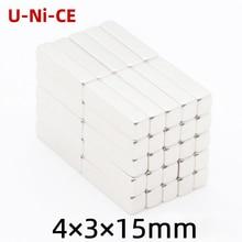 купить u-ni-ce 5/50 pcs  Powerful N35 Neodymium Magnets 4*3*15mm Super Strong block Diy Magnets NdFeB Permanent Magnets по цене 132.22 рублей
