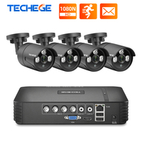 Techege CCTV Security Camera System Set 4CH 1080N AHD DVR Kit Night Vision Waterproof Outdoor Home Video Surveillance System HDD