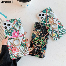 Finger Ring Holder Plating Flower Phone Cases For iphone 11 Pro Max X XR XS 7 8 6S 6 Plus Case Cover Silicone Soft TPU Shell plating tpu phone case for iphone 11 pro max 6 7 8plus xs max xr soft silicone upscale phone cases mobile phone accessories