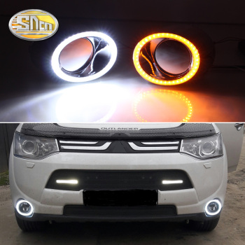 цена на For Mitsubishi Outlander 2013 2014 2015 Daytime Running Light LED DRL fog lamp Driving lights Yellow Turn Signal Lamp