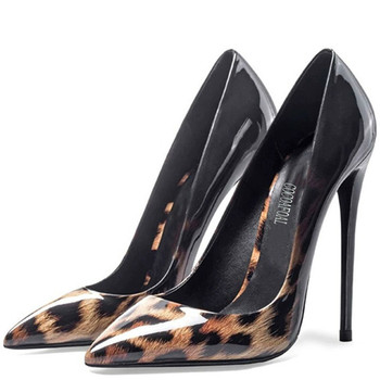 YECHNE Leopard Print Women's High Heels Shoes Sexy Wedding Pumps Plus Size Party Patent Leather High Heels Shoes Pointed Toe