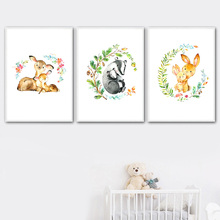 Cartoon Flower Leaf Deer Rabbit Squirrel Nordic Posters And Prints Wall Art Canvas Painting Watercolor Pictures Kids Room