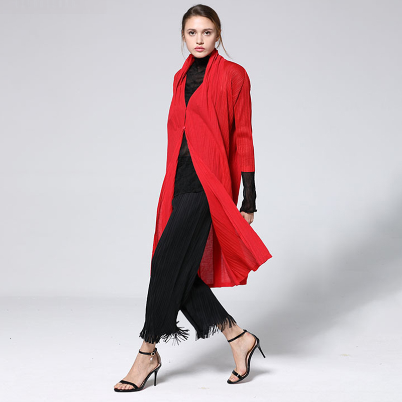 LANMREM 2019 New Fashion Pattern Pleated Slim Thin Long Temperament V Collar Loose Solid Color Vintage Style   Trench   Coat AD054