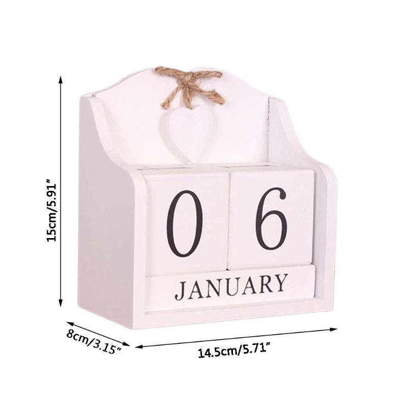 Vintage Wooden Perpetual Calendar Month Date Display Eternal Blocks Photography Props Desktop Accessories Home Office