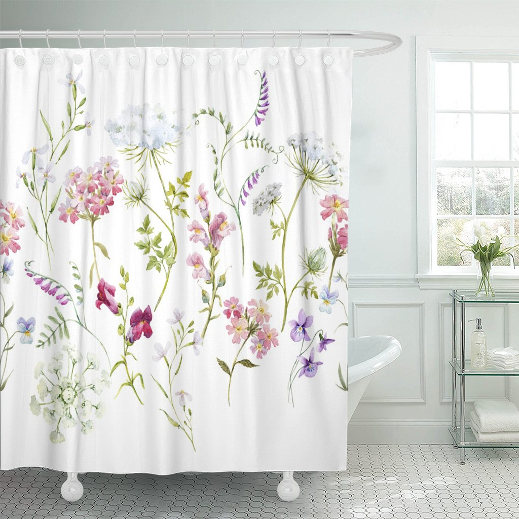 Shower Curtain Watercolor Floral Pattern Delicate Flower Wildflowers Pink Tansy Pansies White Queen Anne's Lace Retro Waterproof