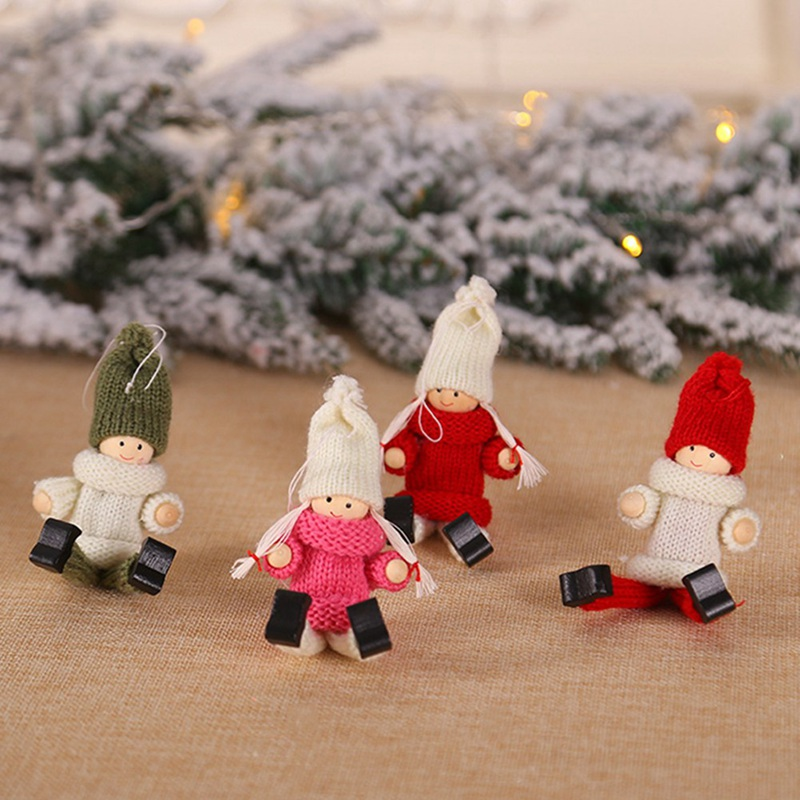 New Year Noel Christmas Angel Girl Boy Ski Plush Dolls Christmas Tree Ornament Pendant Party Christmas Decoration For Home thumbnail