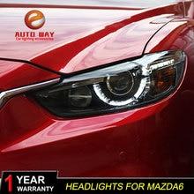รถจัดแต่งทรงผมสำหรับMazda Atenza Mazda6 ไฟหน้าMazda 6 M6 2013 2016 LEDไฟหน้าDRLเลนส์คู่Beam HID xenonรถอุปกรณ์เสริม