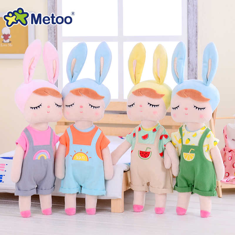 Metoo новые на подкладке из плюша и мягкие милые милый кролик Животные для детей игрушки кукла Анджела для девочек для дня рождения, рождественский подарок, детское платье