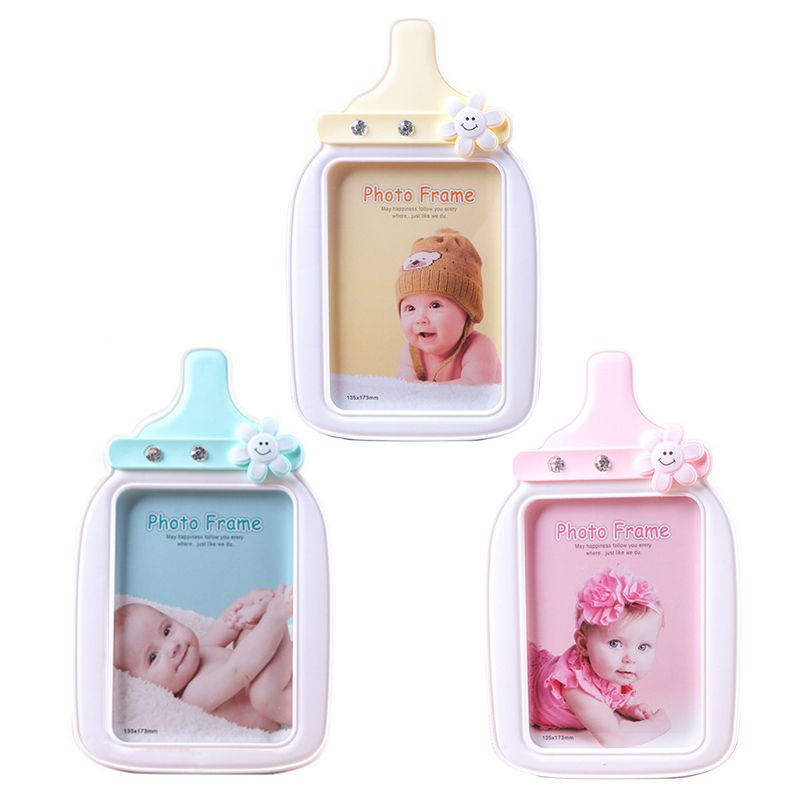Baby Cartoon Bottle Shape Photo Frame Kid Birthday Gift Picture Holder
