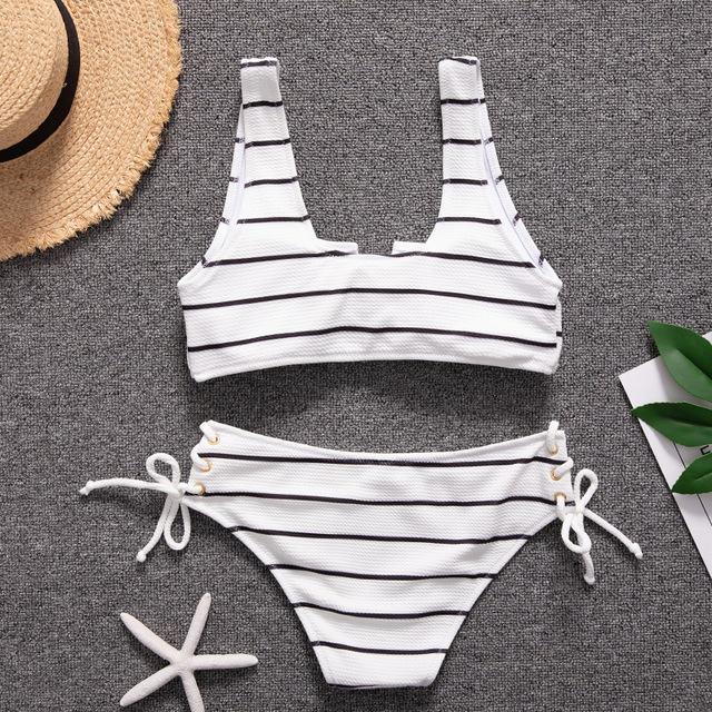White Stripe Bandage Bikinis 4