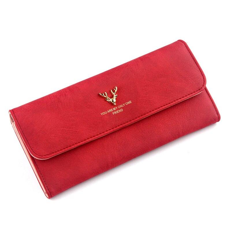 Women Wallet Long Scrub Bag Antlers Female Leather Money Bag Women Clutch Phone Female Purse Card Holder Feminima Bolsa Vintage