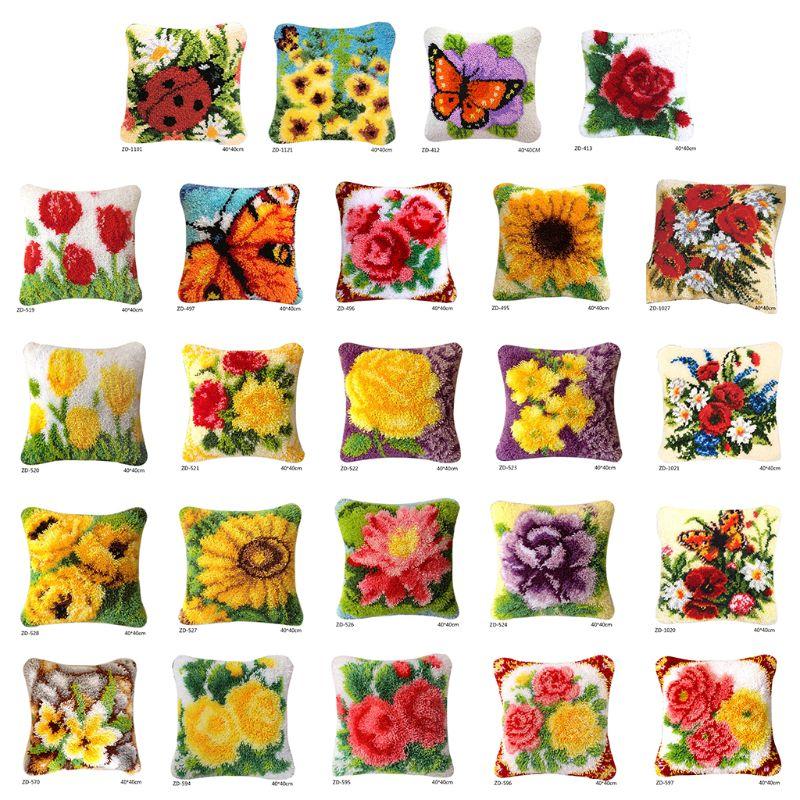 Flowers Print Pillow Cover DIY Latch Hook Kit Carpet Embroidery Segment Embroidery Latch Hook Rug Kits