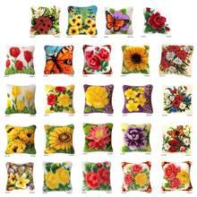 Flores diy trava gancho tapete kit segmento 3d bordado travesseiro lã ponto cruz e7cb