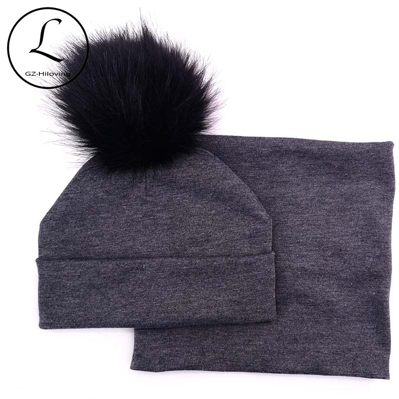 GZhilovingL Winter Faux Fur Pompom Hat Scarf  Set For Children Newborn Baby Girls Boys Soft Cotton Scarf For Toddler Infants