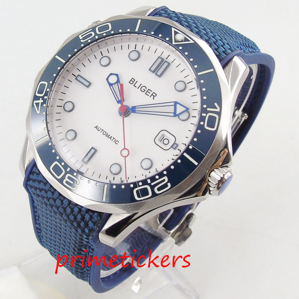 Automatic men's watch date display sapphire crystal 41mm white dial rubber strap luminous hands