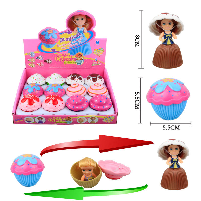1Pcs Mini Cartoon Lovely Cupcake Princess Doll Transformed Scented Cute Cake Doll Toy Girls Toys for Children Free Shipping