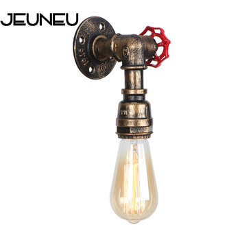 Water pipe retro Loft Industrial iron rust wall lights Vintage E27 LED 110V-220V sconce wall lamps for living room bedroom bar wall lamps vintage led creative cage e27 sconce wall lights for living room bedroom bar 2 pcs vintage black loft iron wall lamp