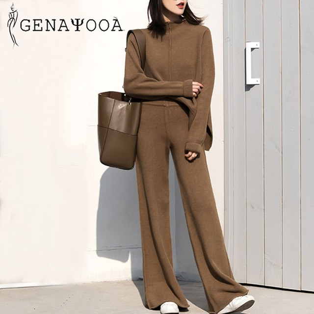 Genayooa Cashmere Two Piece Set Top And Pants 2020 Winter Korean Womens Tracksuit Set Korean Casual 2 Piece Sets Womens Outfits 2