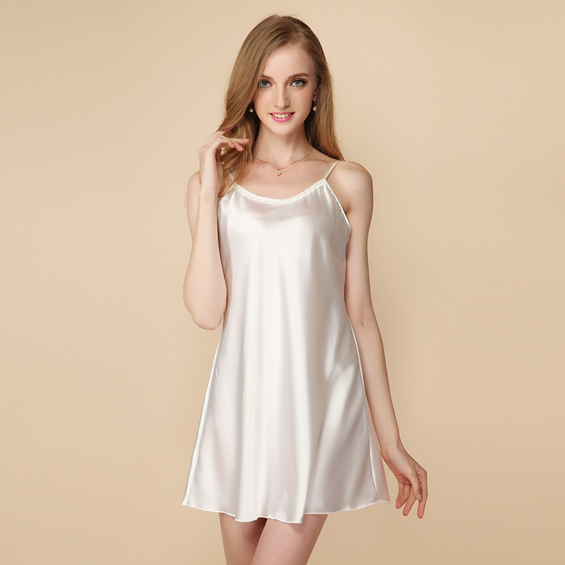 Summer New Products Special Offer-Women's Imitated Silk Fabric Sleeveless Nightgown High Quality Large Size Silk Slip Nightdress