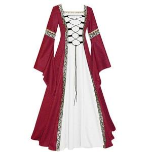 Women's Vintage Mesh Dress Female Ladies Medieval Floor Length Renaissance Gothic Cosplay Long Sleeve Autumn Dresses Plus Size
