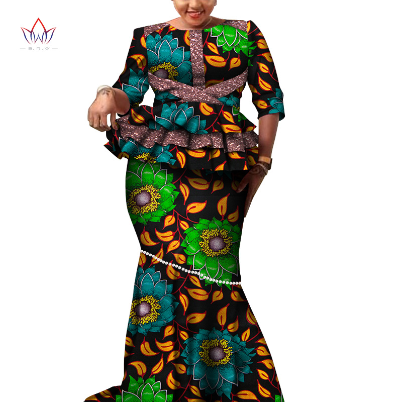 African Long Sleeves Print Tops And Skirt Sets For Women Bazin Riche African Clothing 2 Pieces Skirt Set Peals Customize WY6113