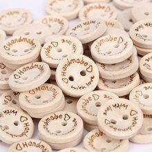 Ручная работа любовь форма швейная деревянная пуговица 100 шт./упак. 15 мм круглые декоративные ремесленные пуговицы креативная Милая пуговица