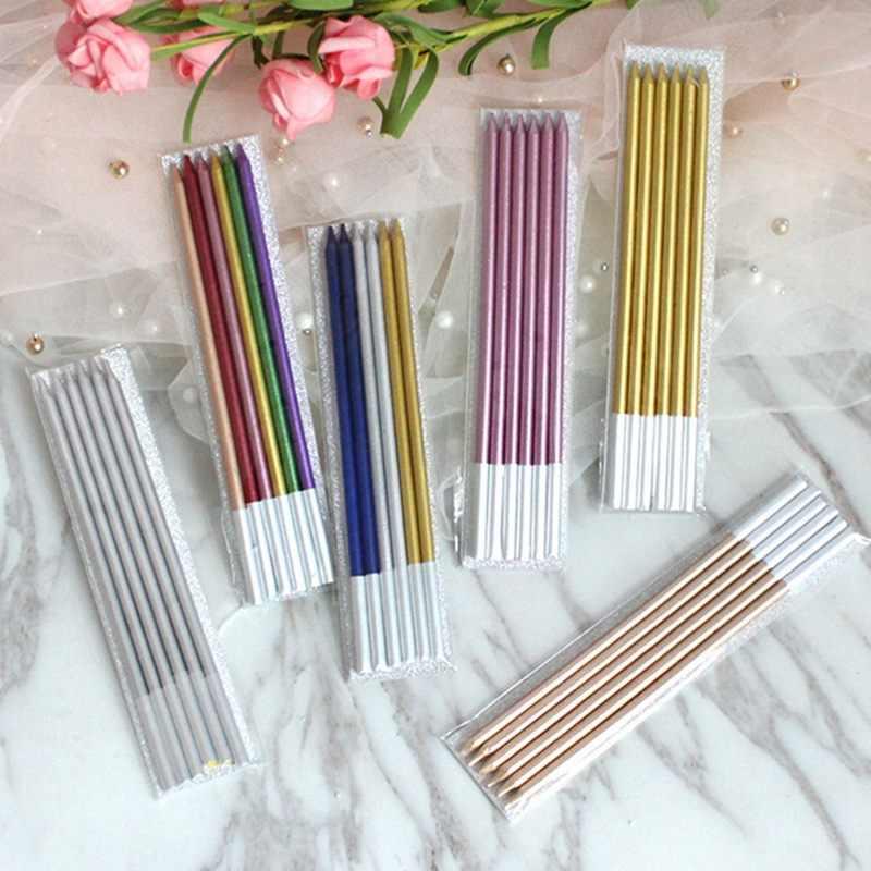 6 PCS Goldenยาวดินสอเค้กเทียนปลอดภัยเปลวไฟเด็กวันเกิดงานแต่งงานเค้กเทียนตกแต่งบ้านโปรดปรานอุปกรณ์