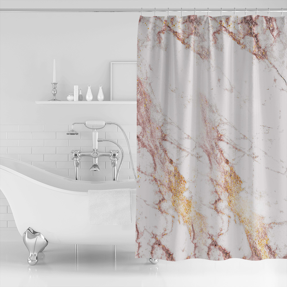 Rose Gold Flash Marble Trend Shower Curtain Waterproof Bathroom