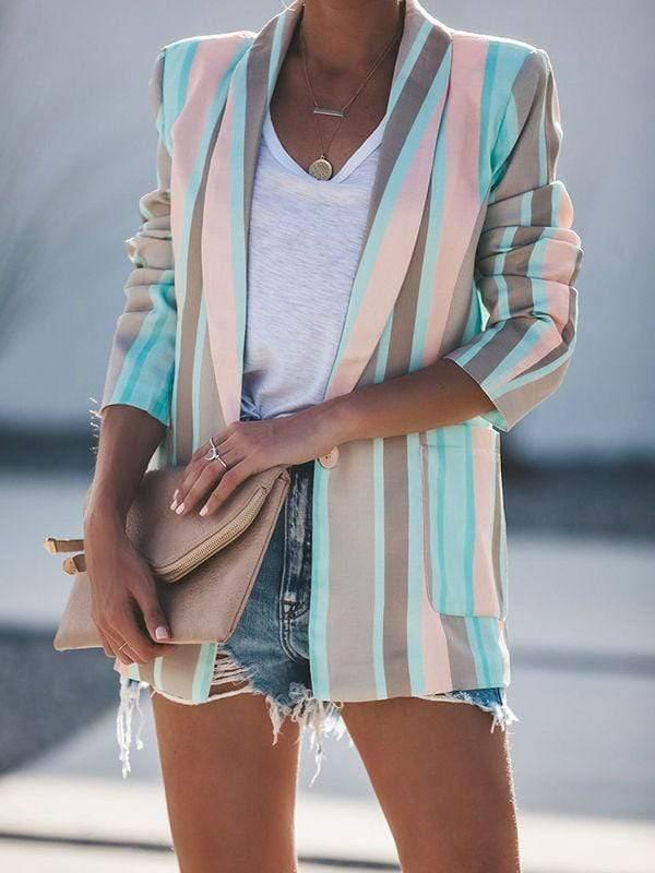 LOUMANDO Fashion New spring Best seller Women's Blazer Casual striped jacket Comfortable & Breathable Essential Blazer female