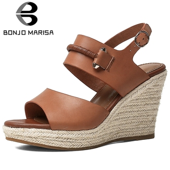BONJOMARISA Female Party Casual Wedges Genuine Leather Open Toe Solid Women Sandals Straw Heel Platform Sandals