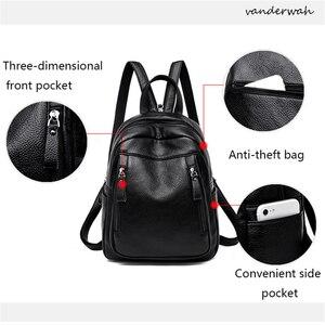 Image 4 - Высококачественный Женский рюкзак VANDERWAH 3 в 1, женский кожаный рюкзак на молнии, нагрудная сумка, вместительная школьная сумка, дорожная сумка