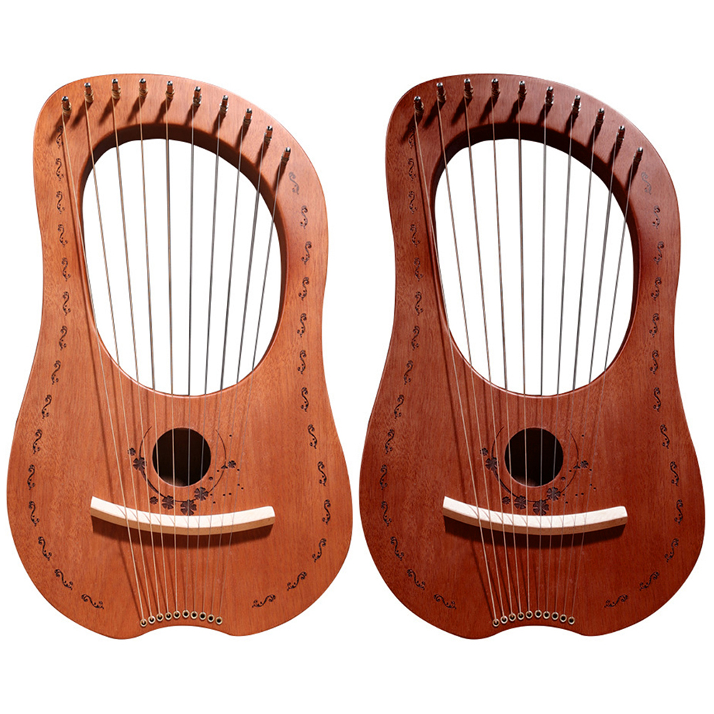 Lyre Harp 10 Metal String Harp Mahogany Portable Small Harp With Durable Steel Strings Wood String Musical Instrument