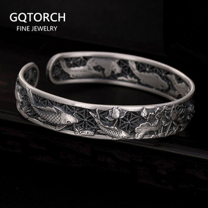 Image 1 - Real Pure 999 Sterling Silver Bangles Carved Fish and Lotus Hollow Design Cuff Bracelets for Women Luxury Jewelry