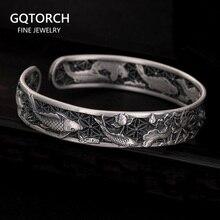 Real puro 999 prata esterlina pulseiras esculpidas peixe e lótus oco design manguito pulseiras para mulheres jóias de luxo