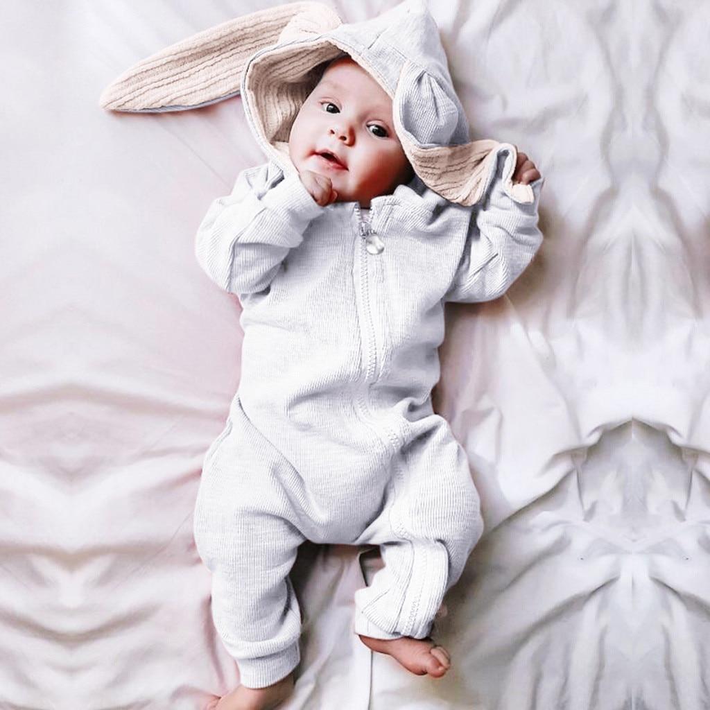 Bebê macacão infantil do bebê meninos meninas dos desenhos animados orelhas de coelho com capuz macacão crianças menina sólida coelho zíper umpsuit outfits conjunto