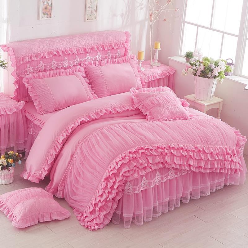 3 Pcs Lace Duvet Cover Fashion Design Soft Comfortable Korean Version Plus Size Quilt Cover King