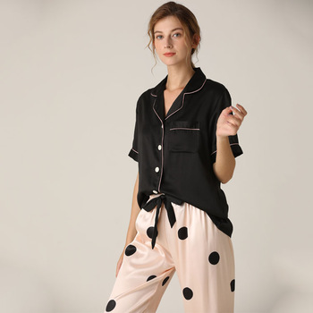 Lisacmvpnel Spring New Pajamas Woman Silk Suit Short Sleeve Trousers Loose High Archives Sleepwear - discount item  32% OFF Women's Sleep & Lounge