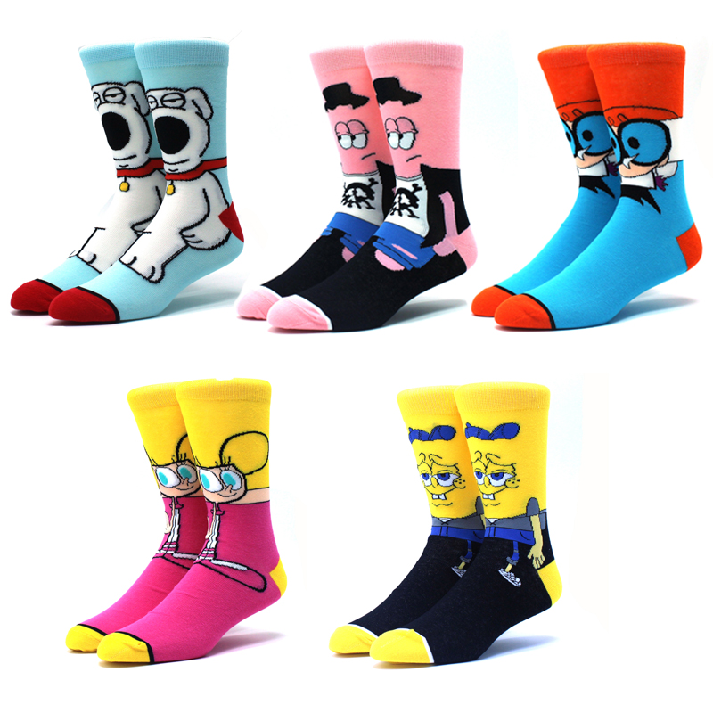 5 Pairs/Pack Cartoon Rabbit Sock Casual Hip Hop Creative Soft Comfortable Funny Novelty Men Cotton Calcetines Hombre Divertido