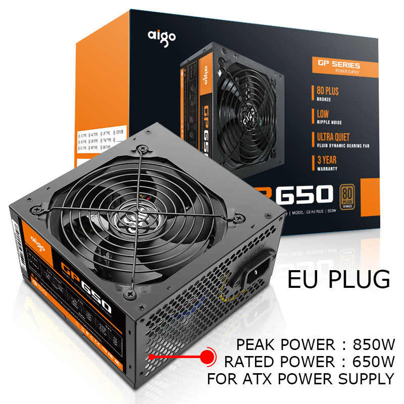 Aigo Power Supply PC 650W 12V ATX PSU 80Plus Bronze Uni Eropa Plug Pasokan Listrik untuk Komputer intel AMD 12 Cm Fan ATX Power Supply