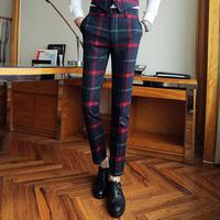 Fashion Men Trousers Red Mens Plaid Suit Trousers Men Dress Pants Slim Fit Plaid Pants Casual Suit Office Business