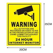 CCTV видеонаблюдения безопасности Предупреждение ющая Наклейка ПВХ дома 24 часа сигнализация безопасности предупреждающий знак 1 шт