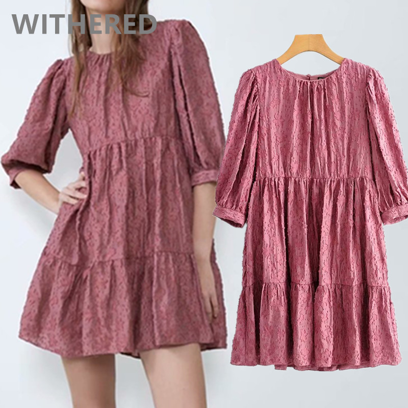 Withered 2020 Spring England Elegant Vintage Texture Loose V-neck Party Mini Dress Women Vestidos De Fiesta De Noche Vestidos