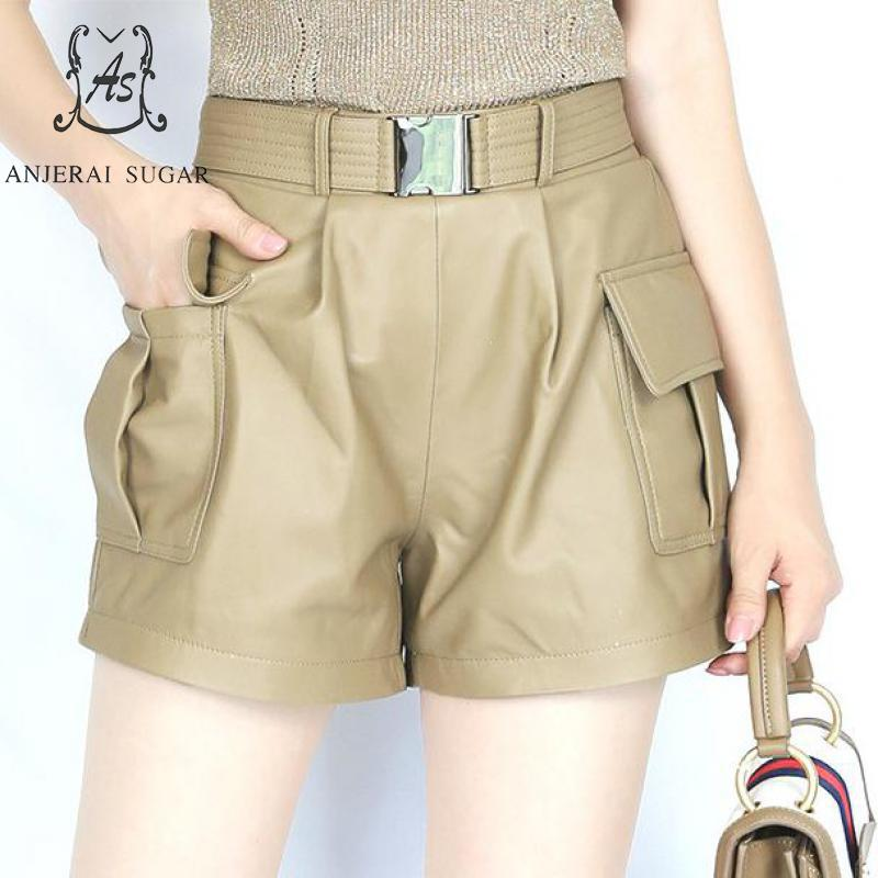 Spring Women Sheepskin Genuine Leather Shorts Elastic High Waist Belt Pocket Short Feminino Black Khaki Sexy Loose Hot Shorts