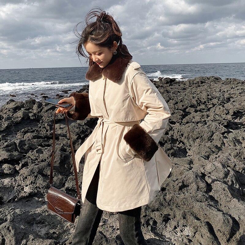 MISHOW Atumn Winter Fashion Thick Cotton Coat Women Causal Rabbit Fur High Waist Belt Coat Tops  MX19D7360