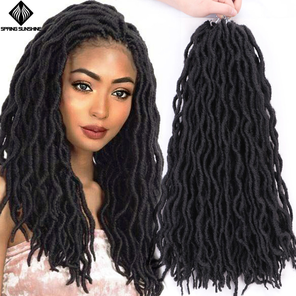 Spring Sunshine 12 18Inch Nu Locs Ombre Faux Locs Curly Braiding Hair Synthetic Crochet Braids Hair