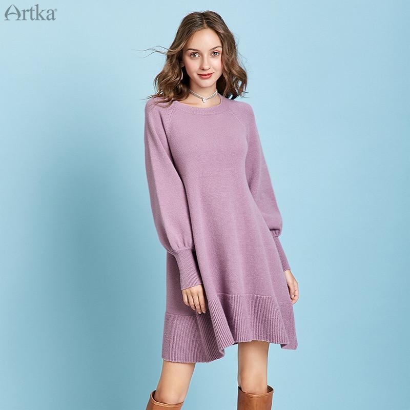 ARTKA 2019 Winter New Women Sweater Dresses Four Colors Warm Knitted Sweater O-Neck Lantern Sleeve Long Sweater Dress YB10895Q