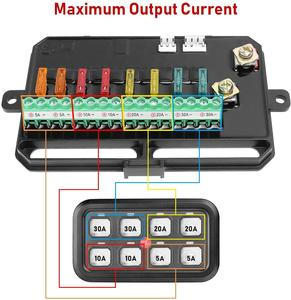 Image 3 - Auto 8 Gang Switch Panel Electronic Relay System with Circuit Control Box Waterproof Fuse Relay Box Wiring Harness Label Sticker
