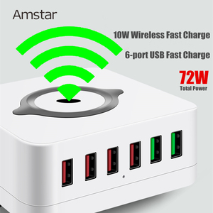 Image 2 - Amstar 72W USB Charger 10W Wireless Charger Quick Charge 3.0 6Port Fast Mobile Phone Charger for iPhone 11 XS XR Samsung S10 S9